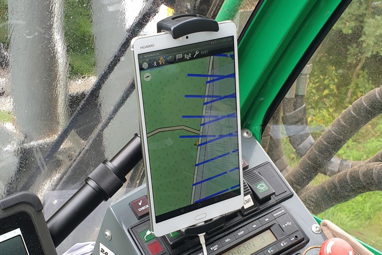 Ansicht Rückefahrt vom Fahrerraum Tablet